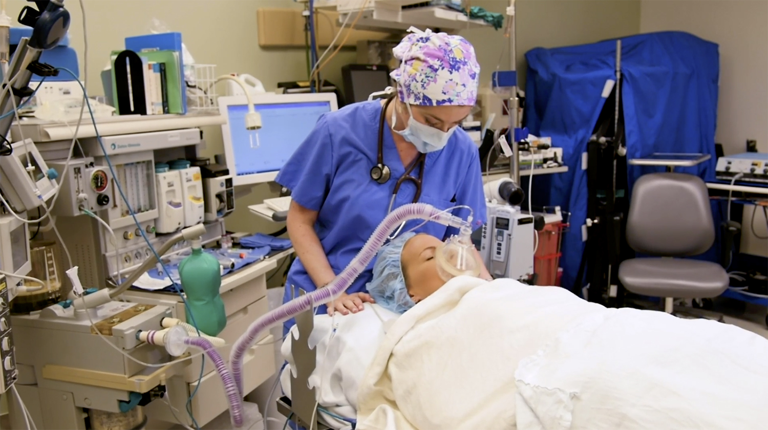 Anesthesa being applied to patient